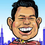 Live Digital Caricature at Chicago Trade Show with Chicago Skyli