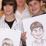 Mitzvah Caricature of a group of Boys at a Bat Mitzvah