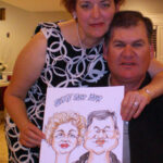 Confirmation Party Caricature of Couple holding their Caricature